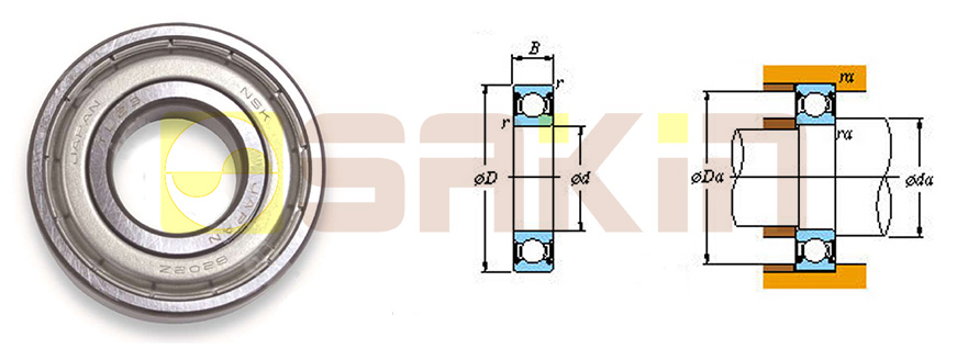 NSK带防尘盖的单列深沟球轴承